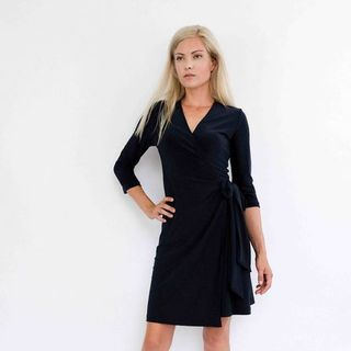 Black Classic Wrap Dress with 3/4 sleeves SALE