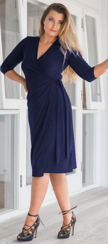 Navy Tied Wrap Dress  SALE